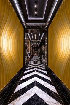 Moncler Opens American Flagship Store in New York City Retail Interior Design, Lift Design, Madison Avenue, Hotel Interiors, Royal Oak, Lobbies, Hotel Lobby, Interior Design Inspiration, Moncler