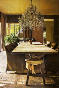 Love this juxtaposition, elegant chandelier w/rustic table et al