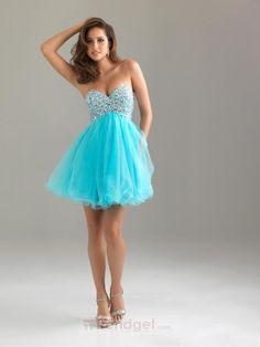 Junior A-line Sweetheart Short / Mini Organza Beading Blue Homecoming Dresses