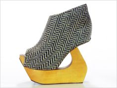 Vegan shoes by Jeffrey Campbell...outside of the box! Loving the herringbone and mustard yellow combo.
