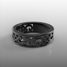 Exclusive 14k black gold scrolls wedding band, wedding ring 6mm wide 1.8mm thick  Since black gold jewelry (black rhodium applied over the