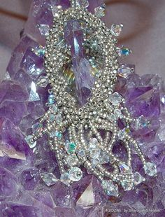 Ice Princess  Bead Embroidered Necklace by 4uidzne on Etsy, $68.00
