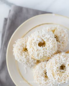 Baked Coconut Doughnuts | Kitchen Confidante | On Plate