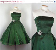 SALE 1950s Dress  EMERALD ISLE Vintage 50s Green by jumblelaya, $193.80