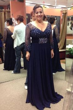 Wholesale Plus Size Mother Dress - Buy Deep V Backless Long Sleeves Navy Blue Mother of the Bride Dresse V-Neck Sheer Beaded Bust And Cuff Chiffon Plus Size Gown Mother Dress 2014, $116.15   DHgate