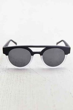 KOMONO Dreyfuss Matte Black Transparent Round Sunglasses