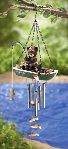 Black Bears Fishing Garden Windchime Dangler By Collections Etc : Wind Noisemakers : Patio, Lawn & Garden