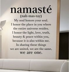 namaste definition quote Wall Decal namaste Vinyl Sticker Art Decor Bedroom Design Mural home decor room decor trendy modern yoga peace love #Yoga@Home