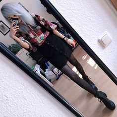 Kimi Peri - Kloth Vintage Shirt, Second Hand Turquoise Stone Pendant, Tights, Choker, Monki Denim Skirt, Ebay Platform Shoes - Vintage & Denim
