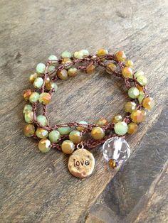 """Love Multi Wrap Crochet Bracelet, """"Beach Chic"""" Bohemian Jewelry $30.00"""
