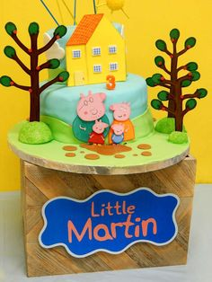 Little George Pig birthday party cake! See more party ideas at CatchMyParty.com!