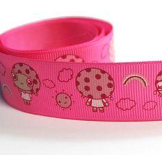 """5 Yds Pink Grosgrain Ribbon  - 1"""" - Little Mushroom Top Girl (130409)"""