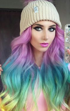 Rainbow dyed hair color