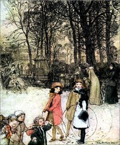 Children In The Snow - Vintage Image - Childrens Art - Fantasy Art Vintage Images or Objects printed over a cream or white linen textured