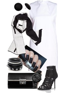 """White & Black"" by gangdise ❤ liked on Polyvore"