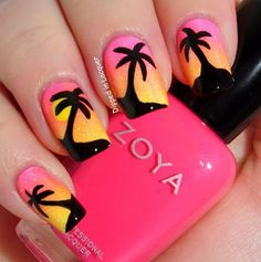 sunset nails perfect for the beach or pool Fancy Nails, Love Nails, Diy Nails, Fabulous Nails, Gorgeous Nails, Pretty Nails, Perfect Nails, Sunset Nails, Beach Nails