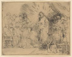 Christ Appearing to the Apostles Rembrandt (Rembrandt van Rijn)  (Dutch, Leiden 1606–1669 Amsterdam) Date: 1656 Medium: Etching Dimensions: plate: 6 7/16 x 8 3/16 in. (16.4 x 20.8 cm) sheet: 6 5/8 x 8 3/8 in. (16.8 x 21.2 cm) Classification: Prints Credit Line: Gift of Felix M. Warburg and his family, 1941 Accession Number: 41.1.43