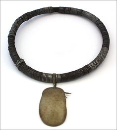 Africa | Necklace from the Turkana people of Kenya |  Bush twine, metal (probably aluminium) and a pendant (horn or plastic).