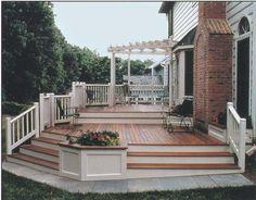 modify for front deck Cumaru Decking, Ipe Decking, Hardwood Decking, Front Porch Design, Front Deck, Patio Design, Front Porches, Front Entry, Deck Ideas Brick