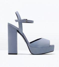 Zara Leather Platform Sandals // Light blue platform sandals