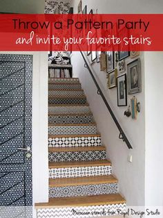 Moroccan stencils on stair risers