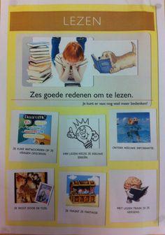 Zes redenen om te leren lezen. Postertje voor in de klas. ( De illustraties en foto's op de poster zijn niet van mij maar heb ik van het internet. )