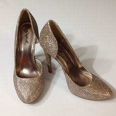 *1 HR SALE* Sexy Gold Sparkly Heels These heels are a must have!! Sexy, chic, and trendy. 4.5 inch heel. Small dark spot on left shoe, bottoms shown in photo 3. Qupid Shoes Heels