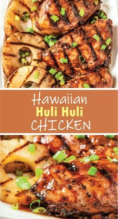 This flavorful Grilled Huli Huli Chicken recipe is delicious and simple. This Hawaiian-inspired chicken recipe is marinated and grilled to perfection. Easy Chicken Dinner Recipes, Baked Chicken Recipes, Crockpot Recipes, Cooking Recipes, Hulihuli Chicken Recipe, Grilling Recipes, Chicken Meals, Boneless Chicken, Keto Chicken