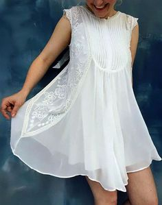 NEW Anthropologie White Madrid Swing Dress by HD in Paris Sz 8 #Anthropologie #Shift #any