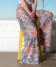 Loving this Coral & Blue Abstract Palazzo Pants on #zulily! #zulilyfinds