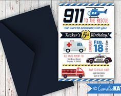 Rescue First Responders Party invitation - Boy's Birthday themes - Fire Truck, Police Car, Ambulance, Helicopter, 911 Emergency, Rescue Vehicles, Blue, Navy, Yellow, Red, Firefighter, Boy - Printable digital invitation file, etsy.com - Camalee Kate Studio - Printed - Custom invitations - pdf