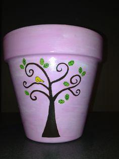Painted Flower Pot by Sheila's Garden Girls LLC in Ocean City NJ. Like us on Facebook. 609-675-0364
