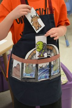 In my class, we loved listening to and various versions of familiar stories. The Three Billy Goats Gruff was one of them. Here's how we covered the Three Billy Goats – and how I used my Show and Tell Apron! {{Mrs. Wills Kindergarten: Lesson Plans for Three Billy Goats}}