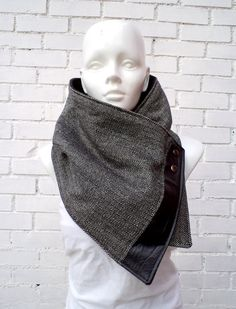 love these - for men AND women!!    Vegan women scarf. Wide cowl Black and white by CheriDemeter, $32.50