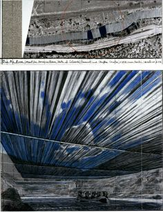 Christo, Over the River (Project for the Arkansas River, State of Colorado), 2008, pencil, fabric, twine, pastel, wax crayon, charcoal, enamel paint, aerial photograph with topographic elements, and fabric sample.