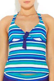 Turquoise Stripe Tankini Top  #WallisFashion