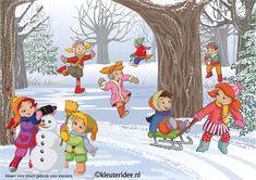 Praatplaat winter voor kleuters, groot formaat, gemaakt door juf Petra van Ginkel van kleuteridee