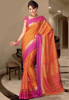 Orange Pure Silk Saree with Blouse. Forget all the bling, loving the colors and of course -silk! Inspired by my friend who'll be a south indian bride next year. Can't wait!!