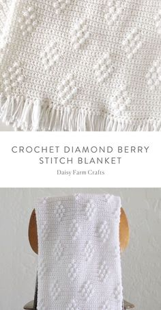 Tiffany's daughter Hannah here. I've been wanting to make some sort of diamond pattern blanket for a while, and I finally figured out that I could use the technique of our bobble polka dot blanket but cluster the bobble into a diamond pattern. Modern Crochet, Diy Crochet, Crochet Crafts, Crochet Projects, Crochet Stitches For Beginners, Crochet Stitches Patterns, Afghan Patterns, Baby Patterns, Baby Blanket Crochet