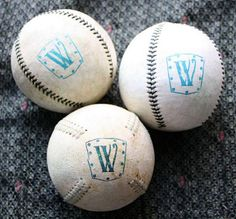 Rubber Stamp image on a baseball