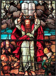 Moses and the Ten Commandments, window in the Cathedral of St. Paul, Pittsburgh, by Franz Mayer.