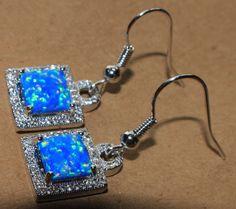 blue fire opal Cz earrings gemstone silver jewelry chic cocktail dangle/drop MCA #DropDangle