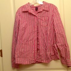 Red and pink striped button down shirt. This flirty button down from GAP features one front pocket with button closure.  Runs big.  Price negotiable. GAP Tops Button Down Shirts