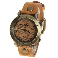 WoMaGe Quartz Watch with Numbers and Triangles Indicate Leather Band for Women (Brown)