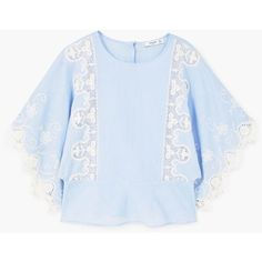 MANGO Embroidered cotton blouse (£62) via Polyvore featuring tops, blouses, sky blue, mango tops, sky blue blouse, short tops, embroidered blouse and embroidery blouses