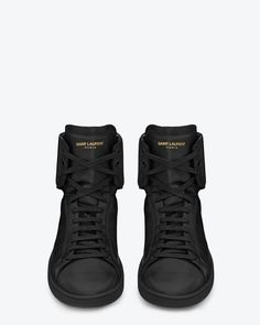 Classic SL01H Sneakers in Black Leather by Saint Laurent Paris