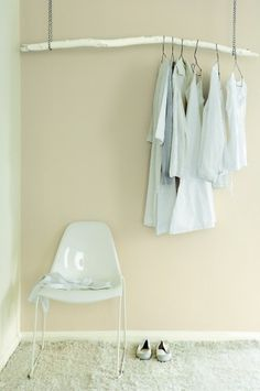 23 Amazingly Simple And Useful DIY Ideas Jmoinajo edit: this picture, in front of my large foyer mirror, a bright painted stick, rusty chains, funky wood hangers. Coat closet.
