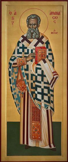 Άγιος Αθανάσιος / Saint Athanasius Byzantine Art, Byzantine Icons, St Athanasius, Orthodox Catholic, Church Icon, Religious Icons, Art Icon, Orthodox Icons, Saints
