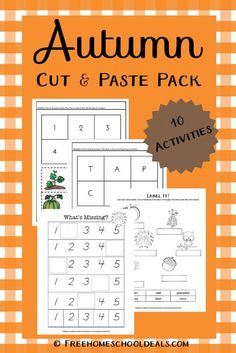 FREE AUTUMN CUT AND PASTE PACK (Instant Download!) | Free Homeschool Deals ©