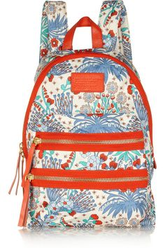 Marc By Marc Jacobs Domo Arigoto Floral Print Twill Backpack in Blue (White) Marc Jacobs 2014, Marc Jacobs Bag, It Bag, Marc Jacob Backpack, Vera Bradley Backpack, Gym Gear, Printed Leggings, Fashion Backpack, Boxer